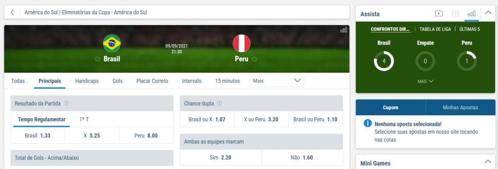 Apostas Brasil x Peru Eliminatórias Copa do Mundo 2022