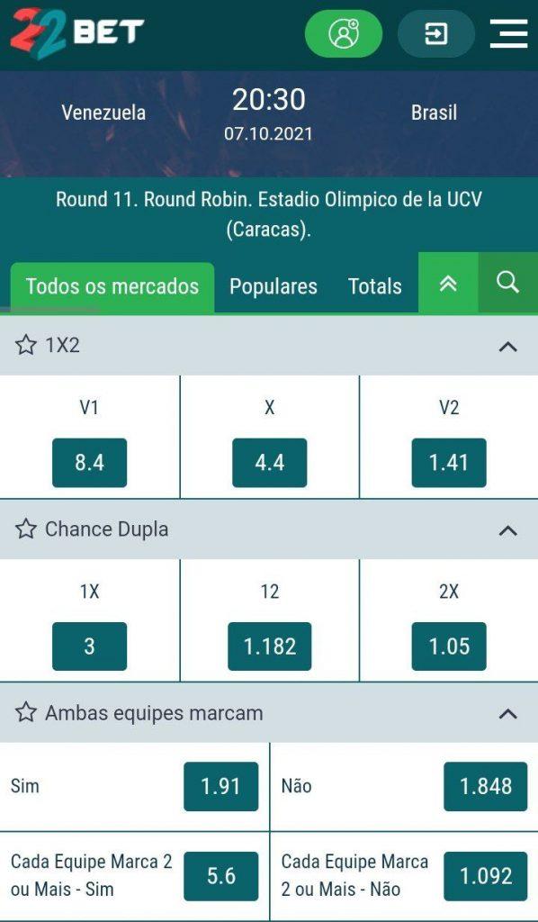 Apostas Venezuela x Brasil Eliminatórias Copa do Mundo 2022